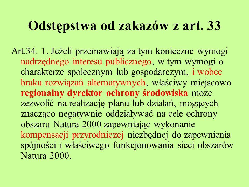 Odstępstwa od zakazów z art. 33