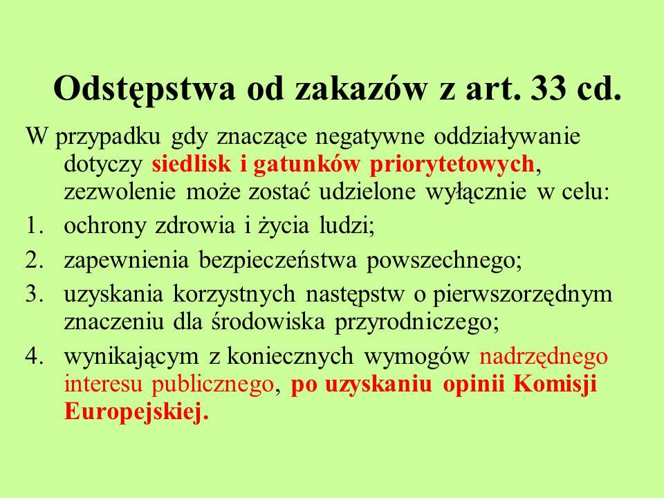 Odstępstwa od zakazów z art. 33 cd.