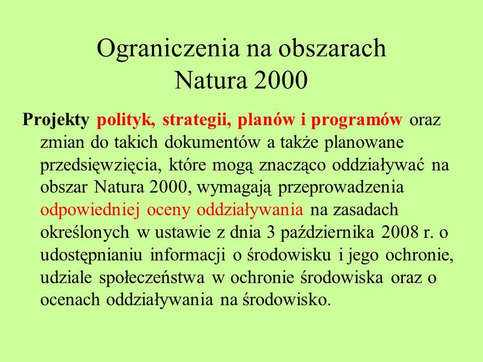 Ograniczenia na obszarach Natura 2000