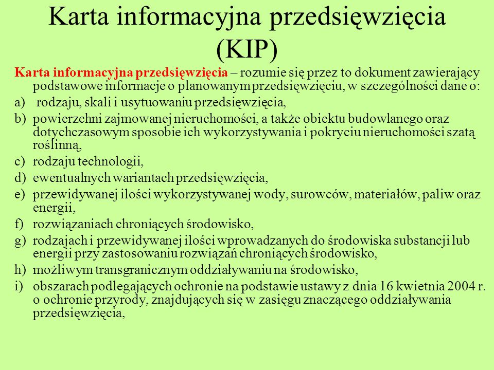 Karta informacyjna przedsięwzięcia (KIP)