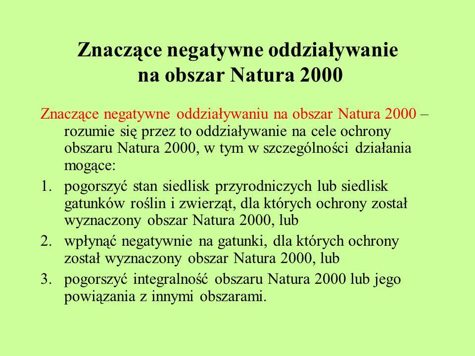 Znaczące negatywne oddziaływanie na obszar Natura 2000