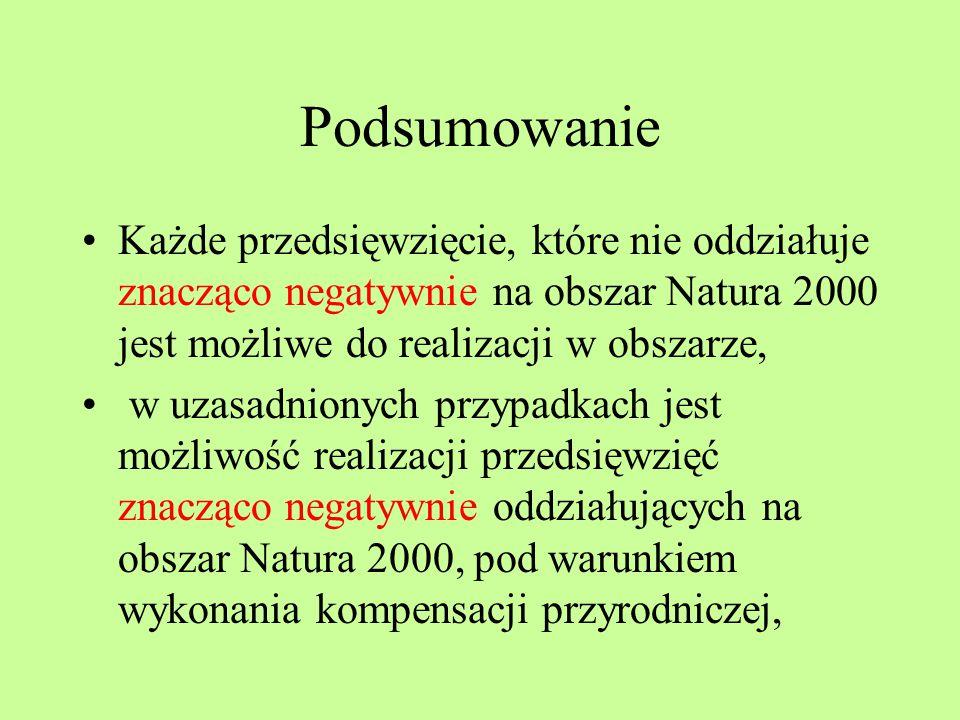 Podsumowanie Każde przedsięwzięcie, które nie oddziałuje znacząco negatywnie na obszar Natura 2000 jest możliwe do realizacji w obszarze,