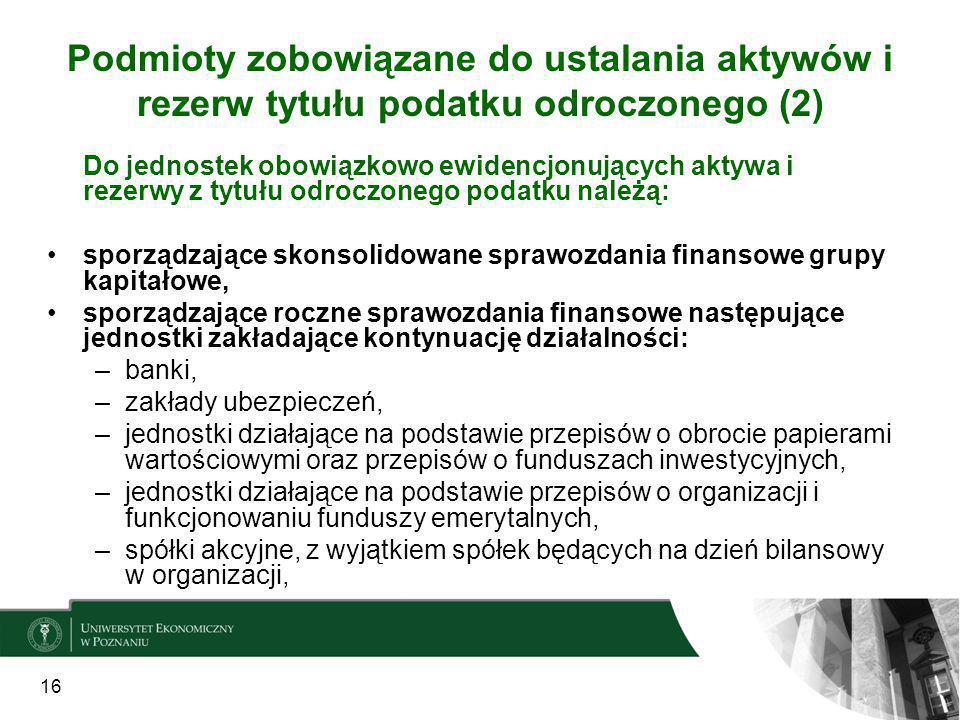 Podmioty zobowiązane do ustalania aktywów i rezerw tytułu podatku odroczonego (2)