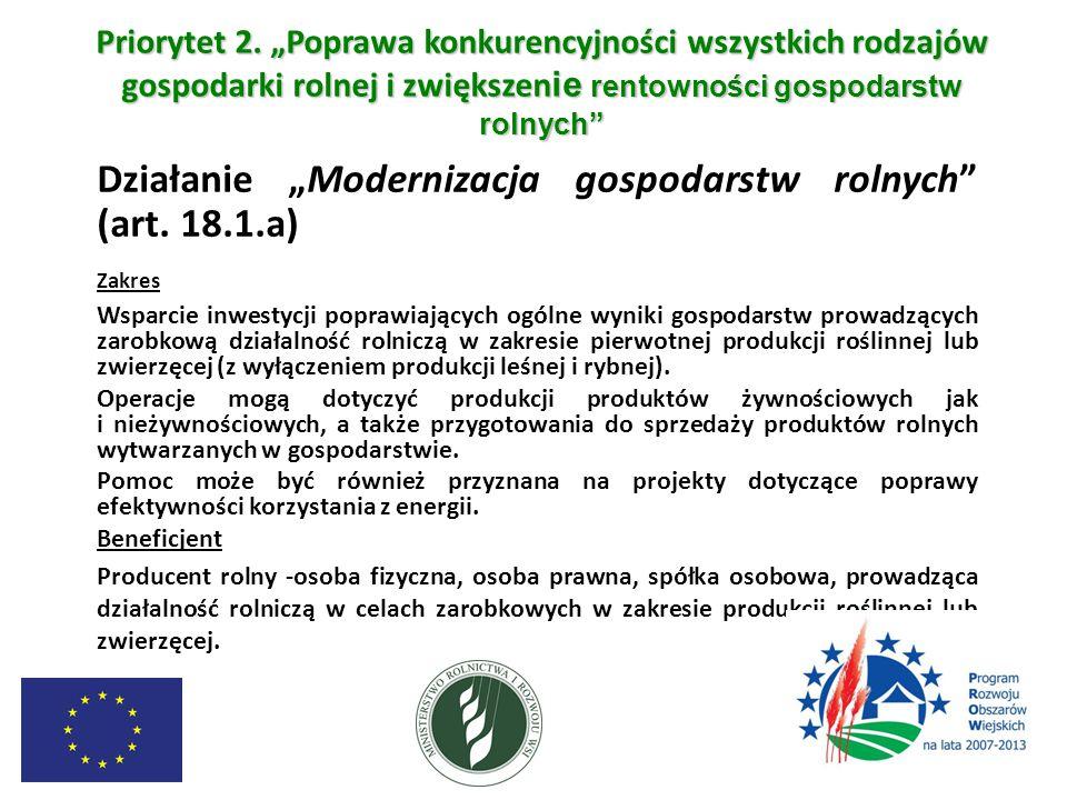 """Priorytet 2. """"Poprawa konkurencyjności wszystkich rodzajów gospodarki rolnej i zwiększenie rentowności gospodarstw rolnych"""
