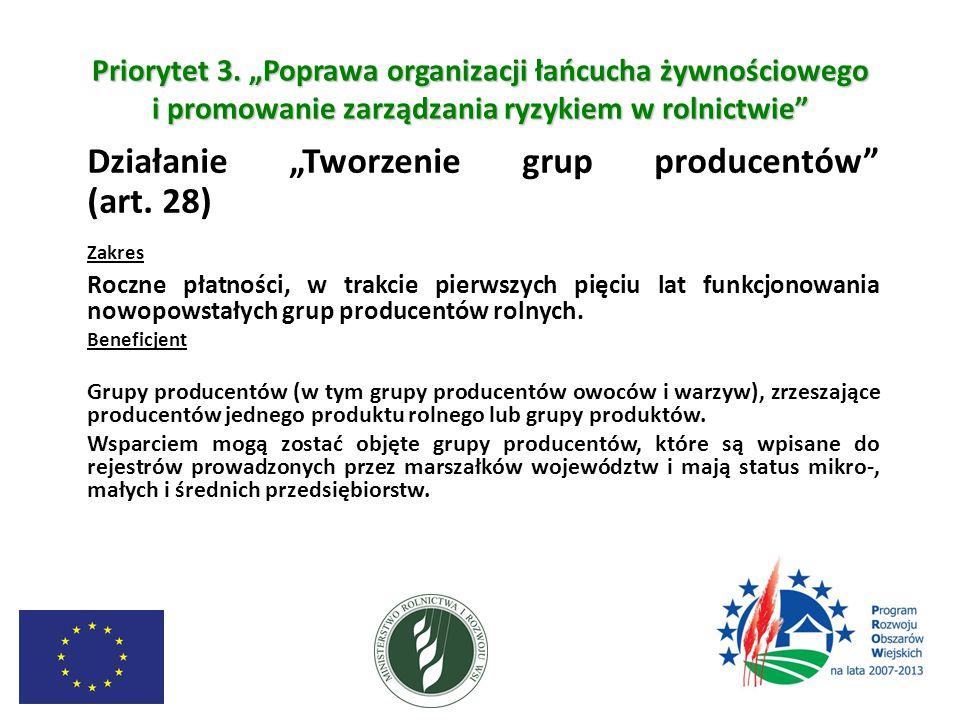 """Priorytet 3. """"Poprawa organizacji łańcucha żywnościowego i promowanie zarządzania ryzykiem w rolnictwie"""