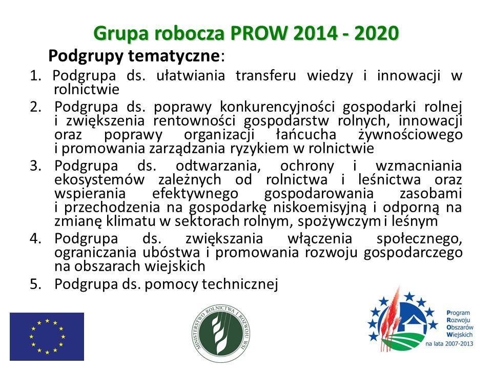 Grupa robocza PROW 2014 - 2020 Podgrupy tematyczne: 1. Podgrupa ds. ułatwiania transferu wiedzy i innowacji w rolnictwie.