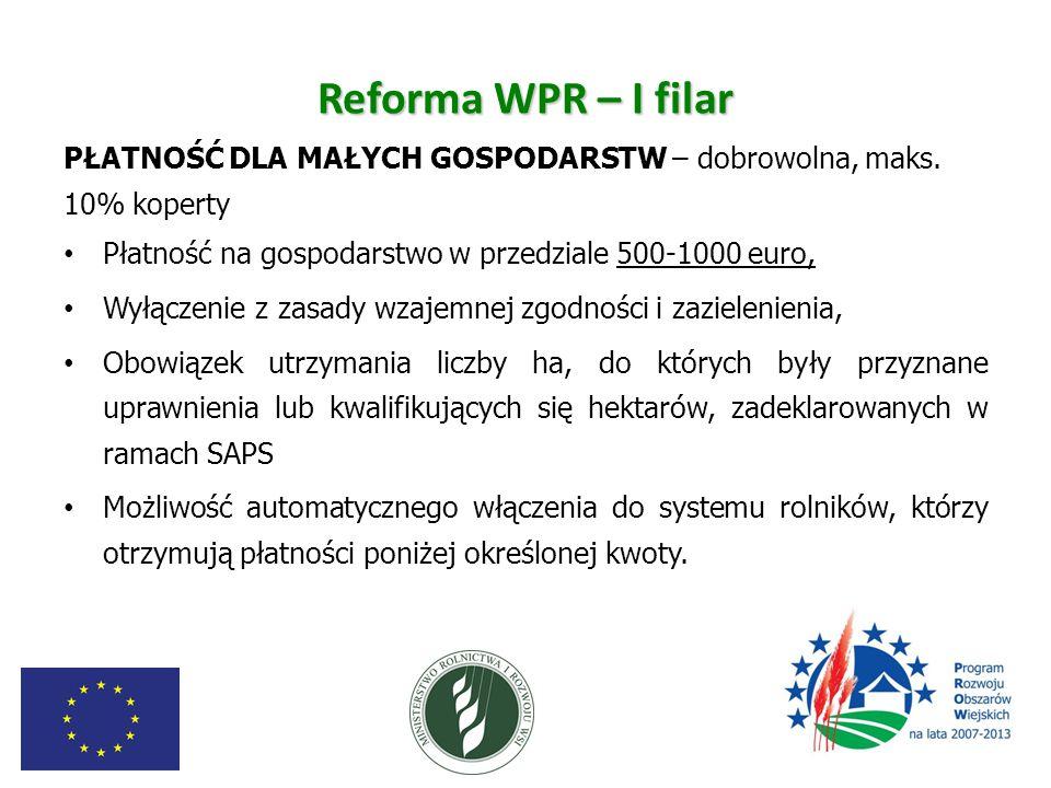 Reforma WPR – I filar PŁATNOŚĆ DLA MAŁYCH GOSPODARSTW – dobrowolna, maks. 10% koperty. Płatność na gospodarstwo w przedziale 500-1000 euro,