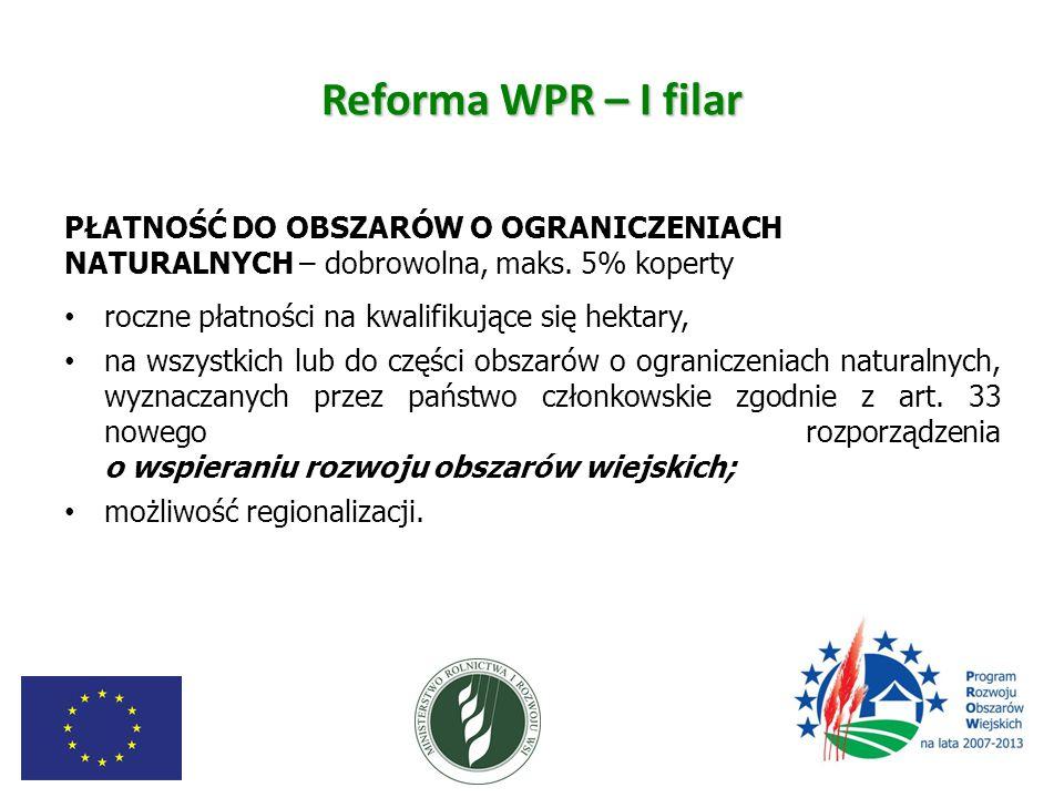 Reforma WPR – I filar PŁATNOŚĆ DO OBSZARÓW O OGRANICZENIACH NATURALNYCH – dobrowolna, maks. 5% koperty.
