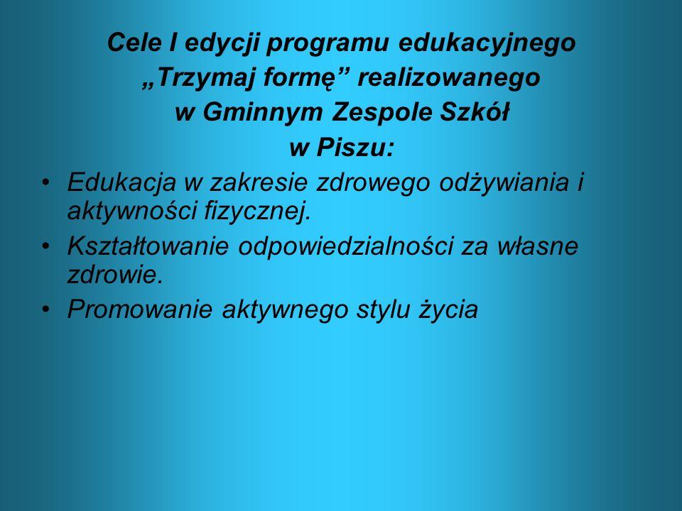 """Cele I edycji programu edukacyjnego """"Trzymaj formę realizowanego"""