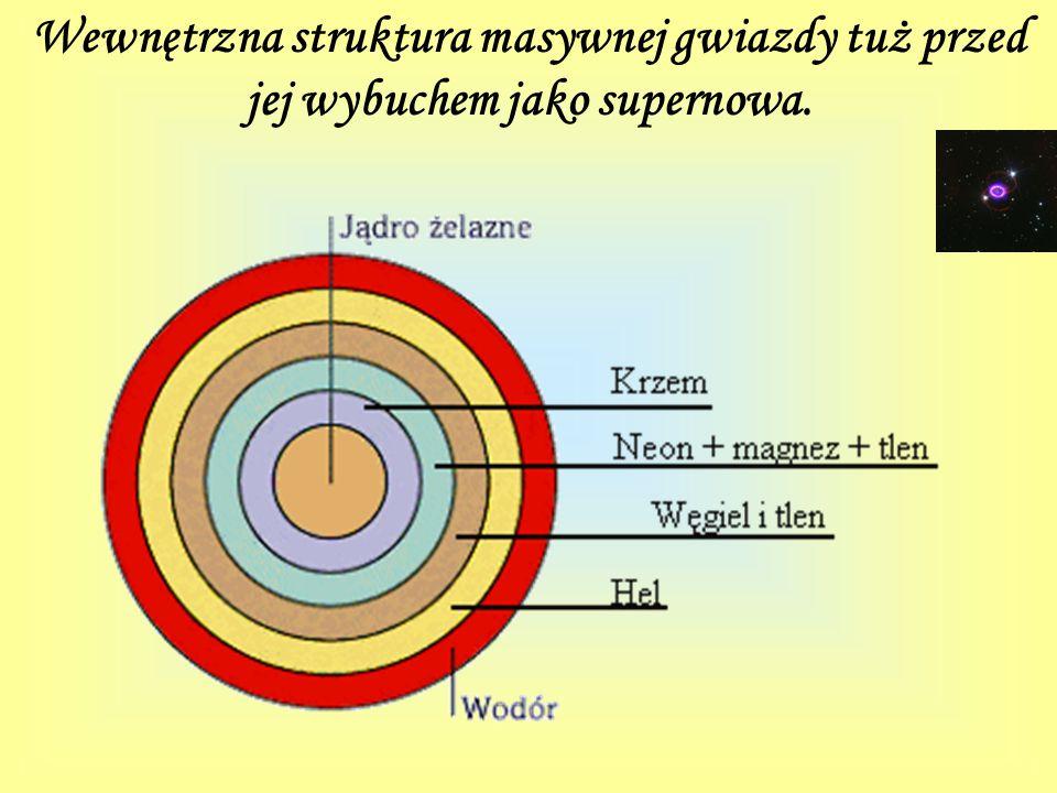 Wewnętrzna struktura masywnej gwiazdy tuż przed jej wybuchem jako supernowa.