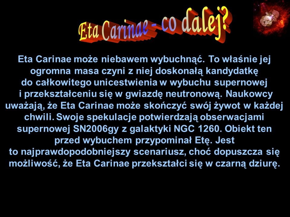 Eta Carinae - co dalej