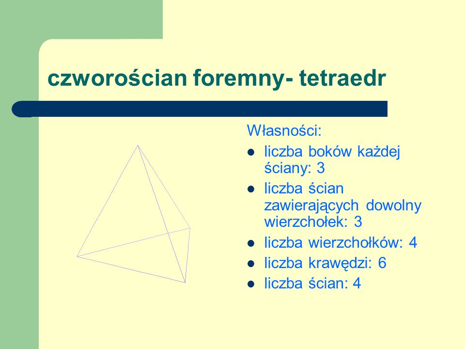 czworościan foremny- tetraedr