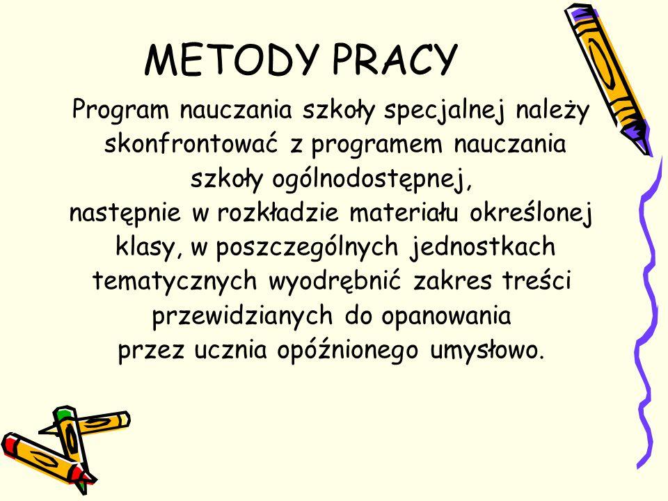 METODY PRACY Program nauczania szkoły specjalnej należy