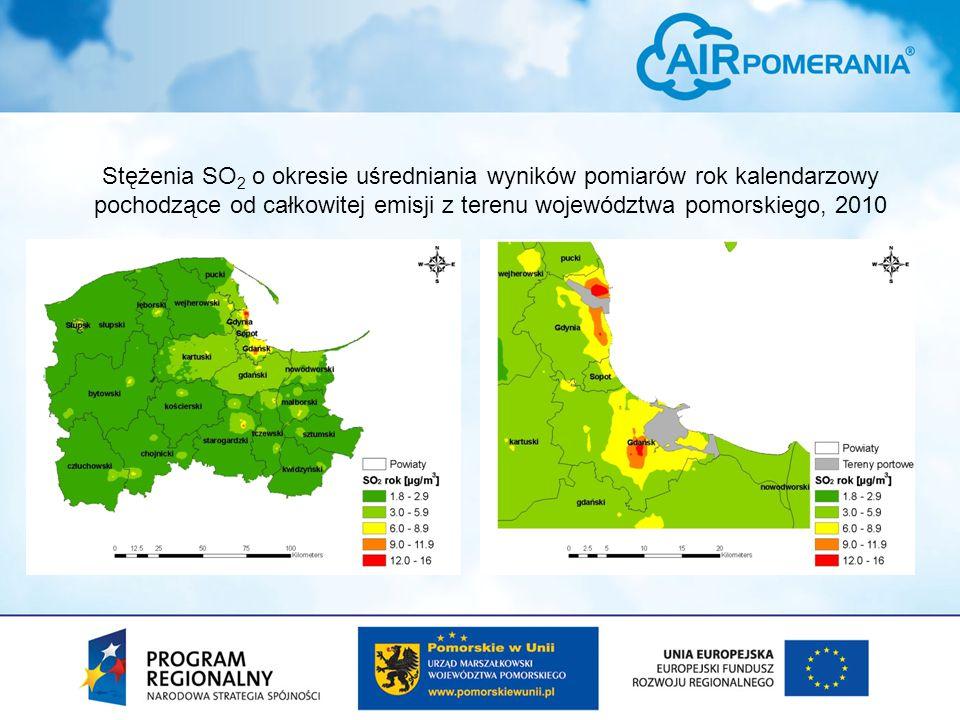Stężenia SO2 o okresie uśredniania wyników pomiarów rok kalendarzowy pochodzące od całkowitej emisji z terenu województwa pomorskiego, 2010