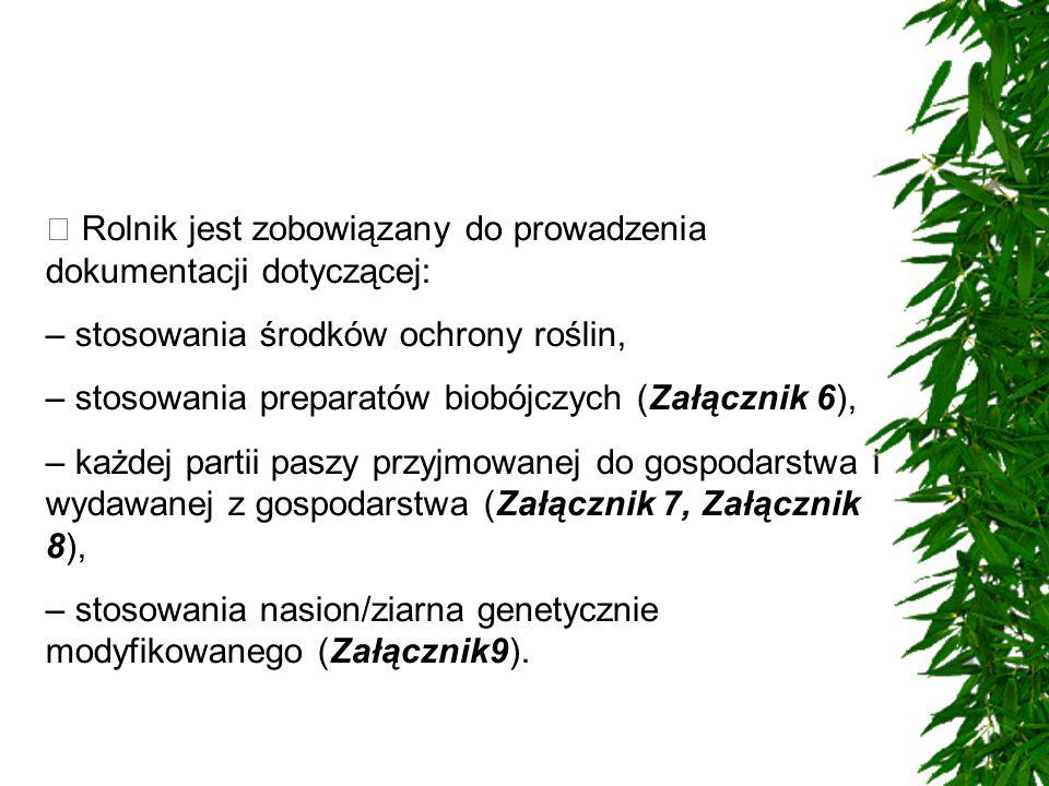  Rolnik jest zobowiązany do prowadzenia dokumentacji dotyczącej: