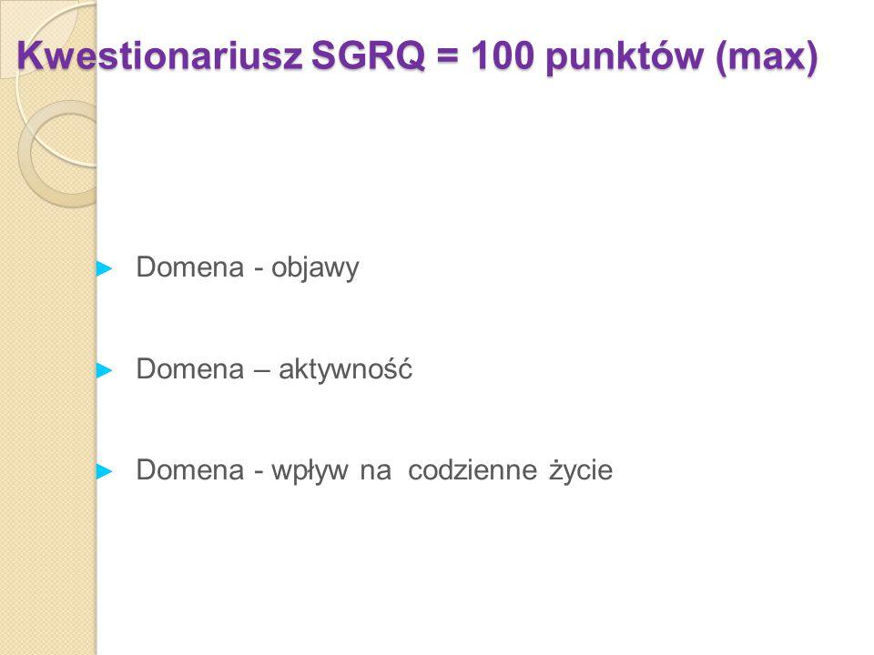 Kwestionariusz SGRQ = 100 punktów (max)