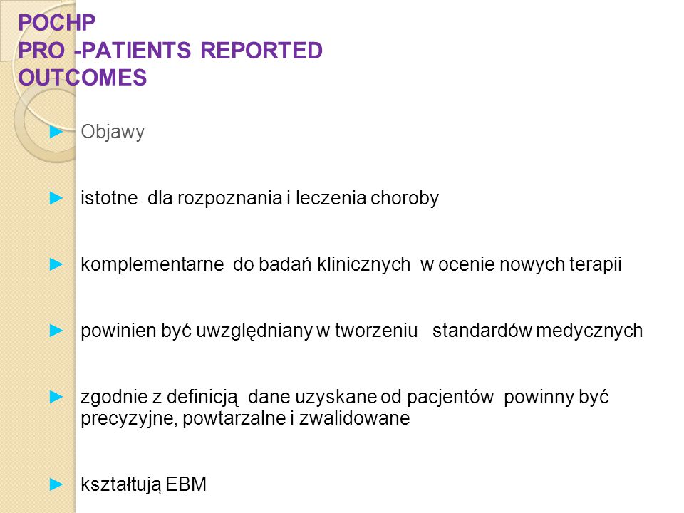 POCHP PRO -PATIENTS REPORTED OUTCOMES