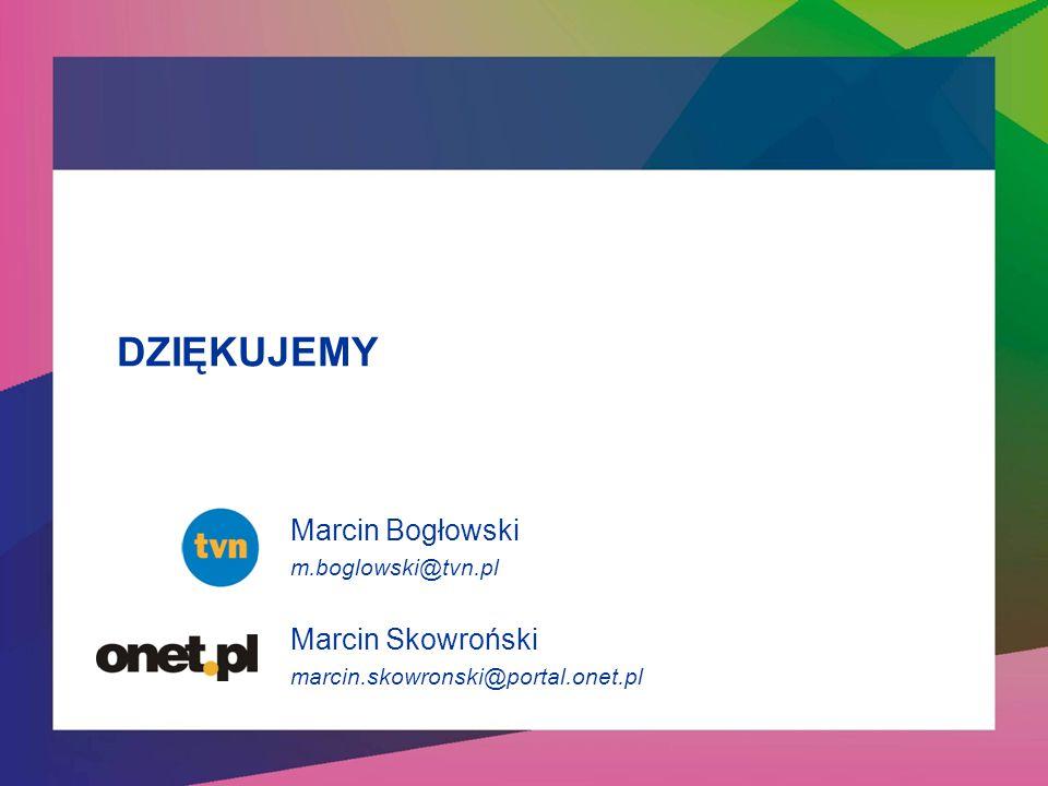 DZIĘKUJEMY Marcin Bogłowski Marcin Skowroński m.boglowski@tvn.pl