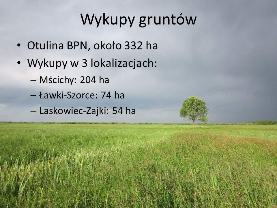 Wykupy gruntów Otulina BPN, około 332 ha Wykupy w 3 lokalizacjach: