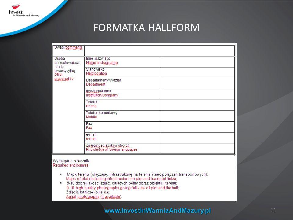 FORMATKA HALLFORM www.InvestInWarmiaAndMazury.pl