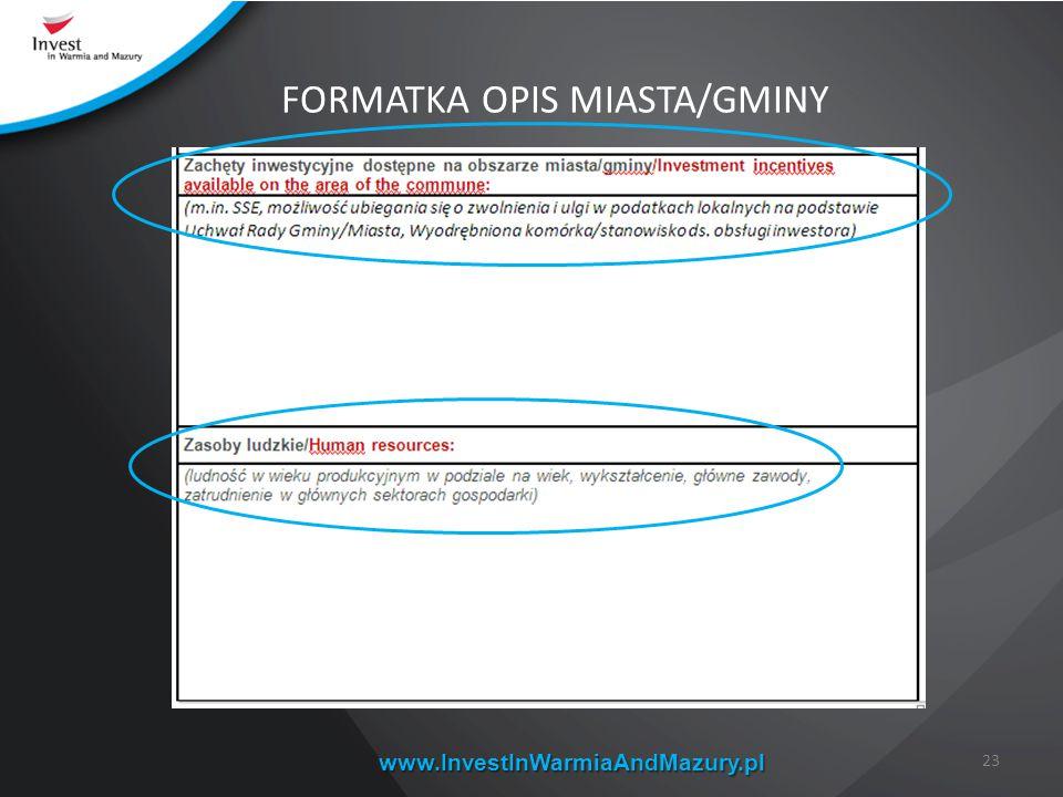 FORMATKA OPIS MIASTA/GMINY