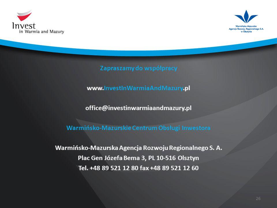 Zapraszamy do współpracy www. InvestInWarmiaAndMazury