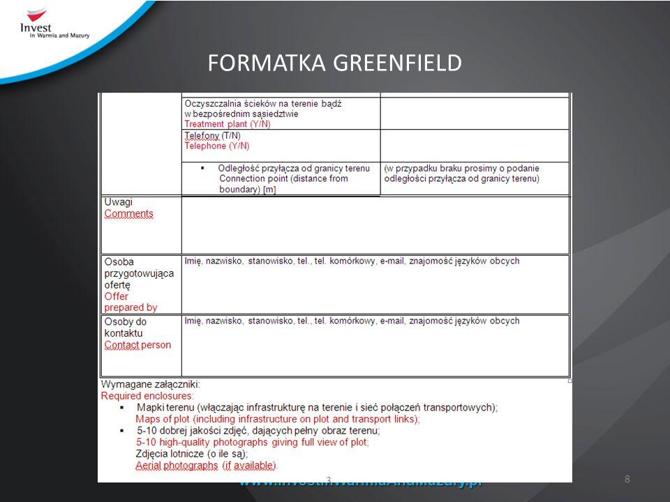 FORMATKA GREENFIELD www.InvestInWarmiaAndMazury.pl