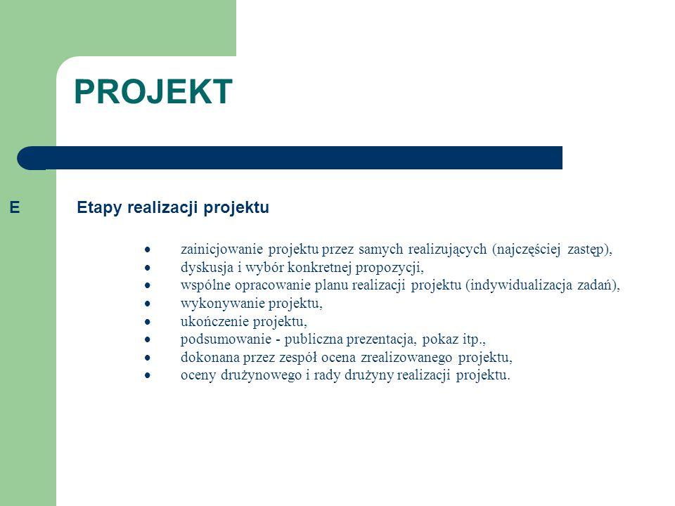 PROJEKT E Etapy realizacji projektu