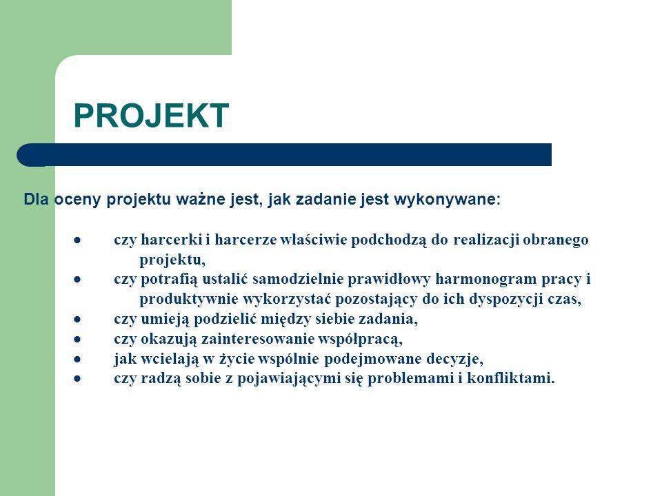 PROJEKT Dla oceny projektu ważne jest, jak zadanie jest wykonywane: