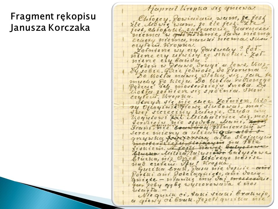 Fragment rękopisu Janusza Korczaka