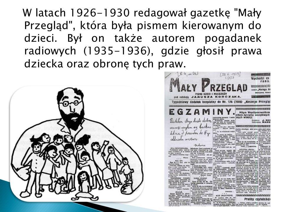 W latach 1926-1930 redagował gazetkę Mały Przegląd , która była pismem kierowanym do dzieci.
