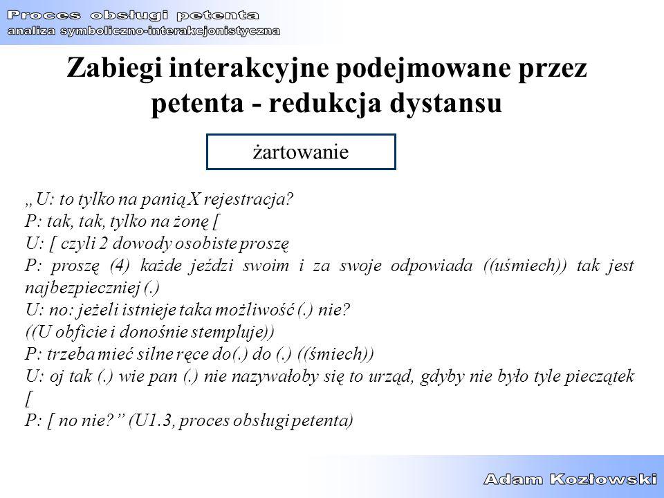Zabiegi interakcyjne podejmowane przez petenta - redukcja dystansu