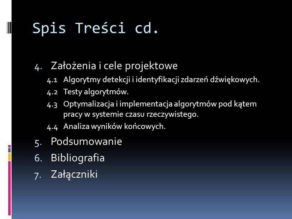 Spis Treści cd. Założenia i cele projektowe Podsumowanie Bibliografia
