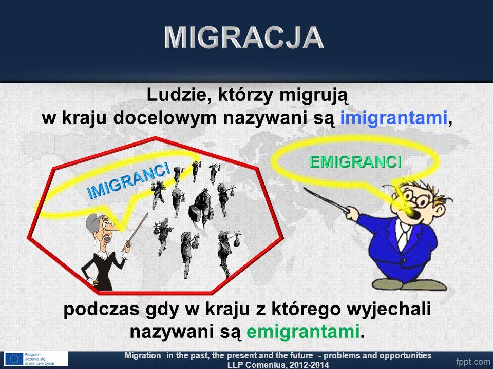 MIGRACJA Ludzie, którzy migrują w kraju docelowym nazywani są imigrantami, podczas gdy w kraju z którego wyjechali nazywani są emigrantami.