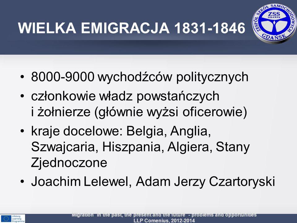 WIELKA EMIGRACJA 1831-1846 8000-9000 wychodźców politycznych
