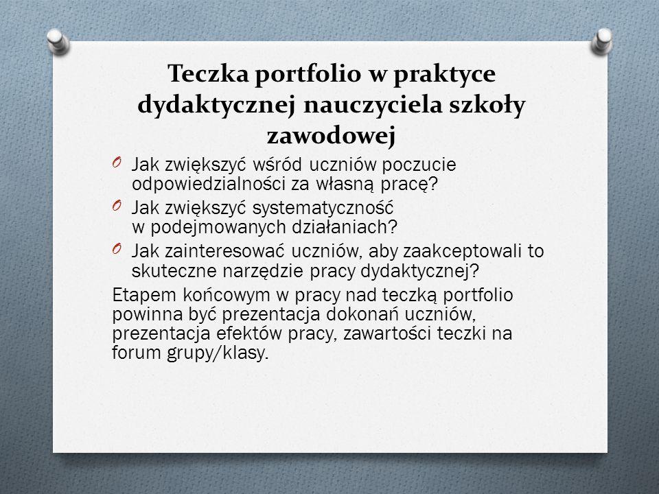 Teczka portfolio w praktyce dydaktycznej nauczyciela szkoły zawodowej