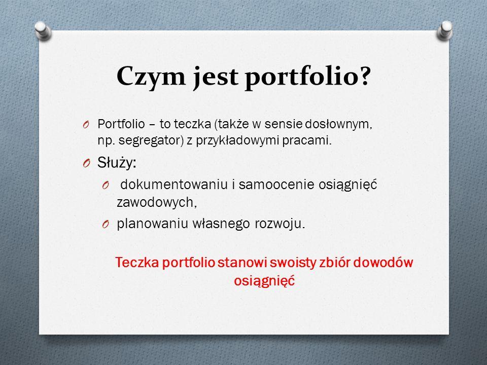 Teczka portfolio stanowi swoisty zbiór dowodów osiągnięć