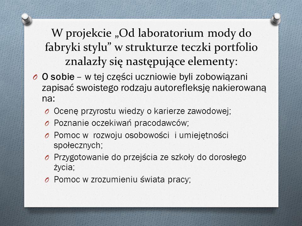 """W projekcie """"Od laboratorium mody do fabryki stylu w strukturze teczki portfolio znalazły się następujące elementy:"""