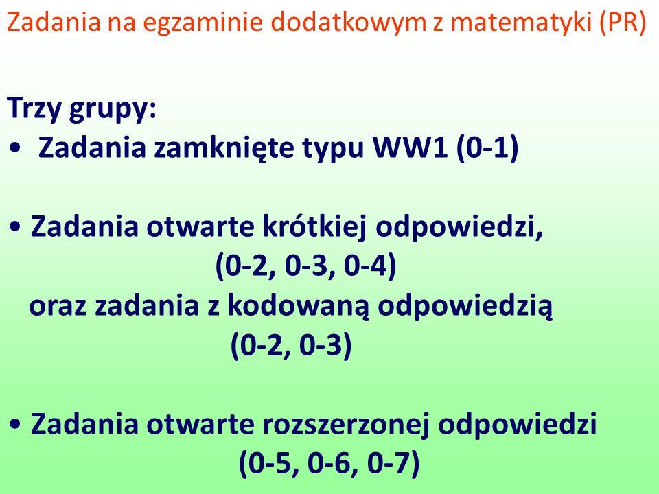 Zadania zamknięte typu WW1 (0-1) Zadania otwarte krótkiej odpowiedzi,