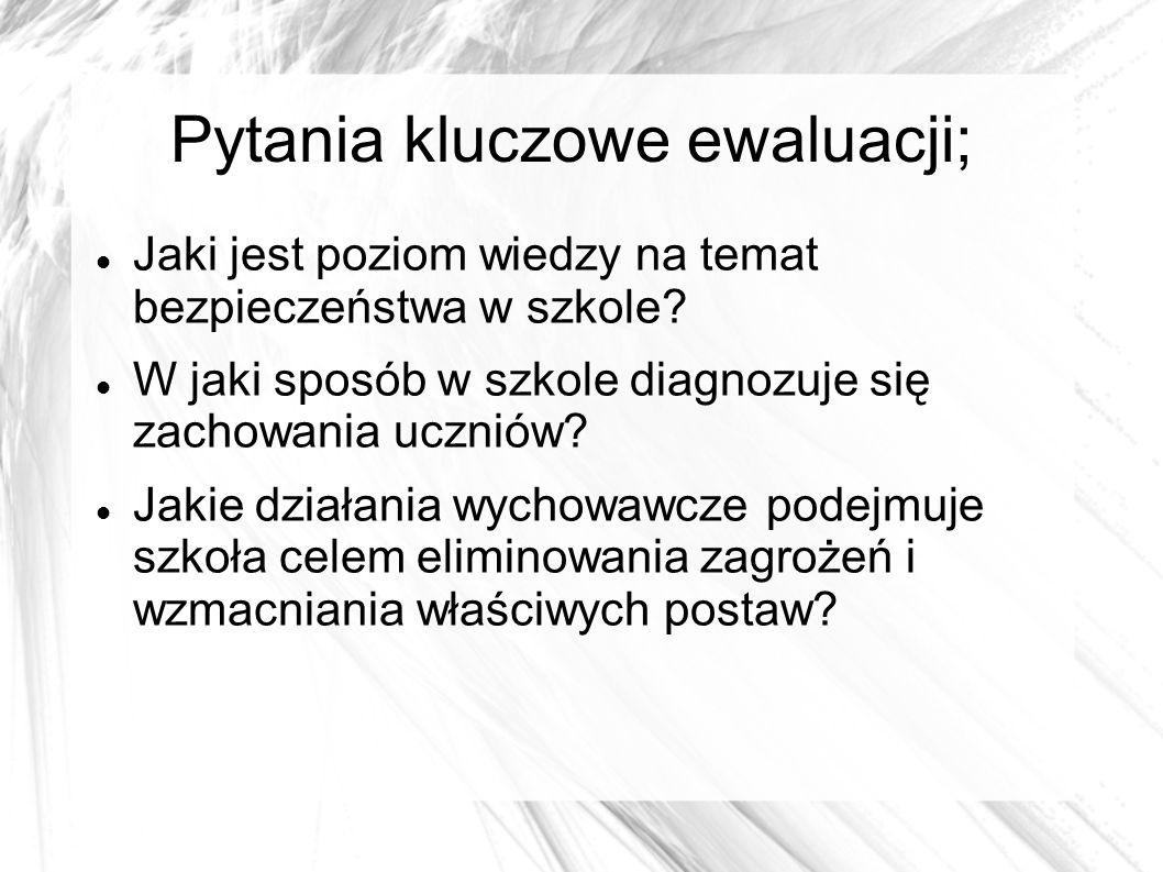 Pytania kluczowe ewaluacji;