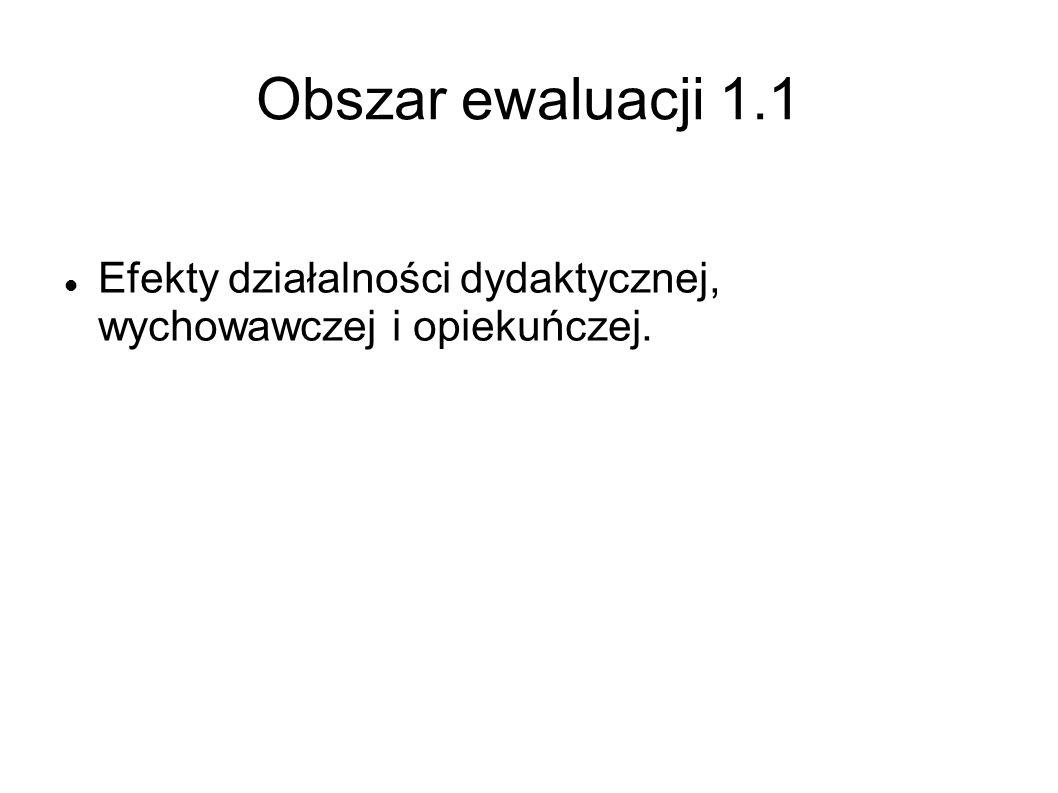 Obszar ewaluacji 1.1 Efekty działalności dydaktycznej, wychowawczej i opiekuńczej.