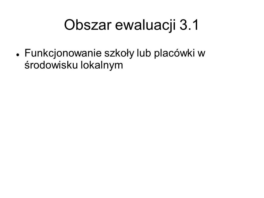 Obszar ewaluacji 3.1 Funkcjonowanie szkoły lub placówki w środowisku lokalnym