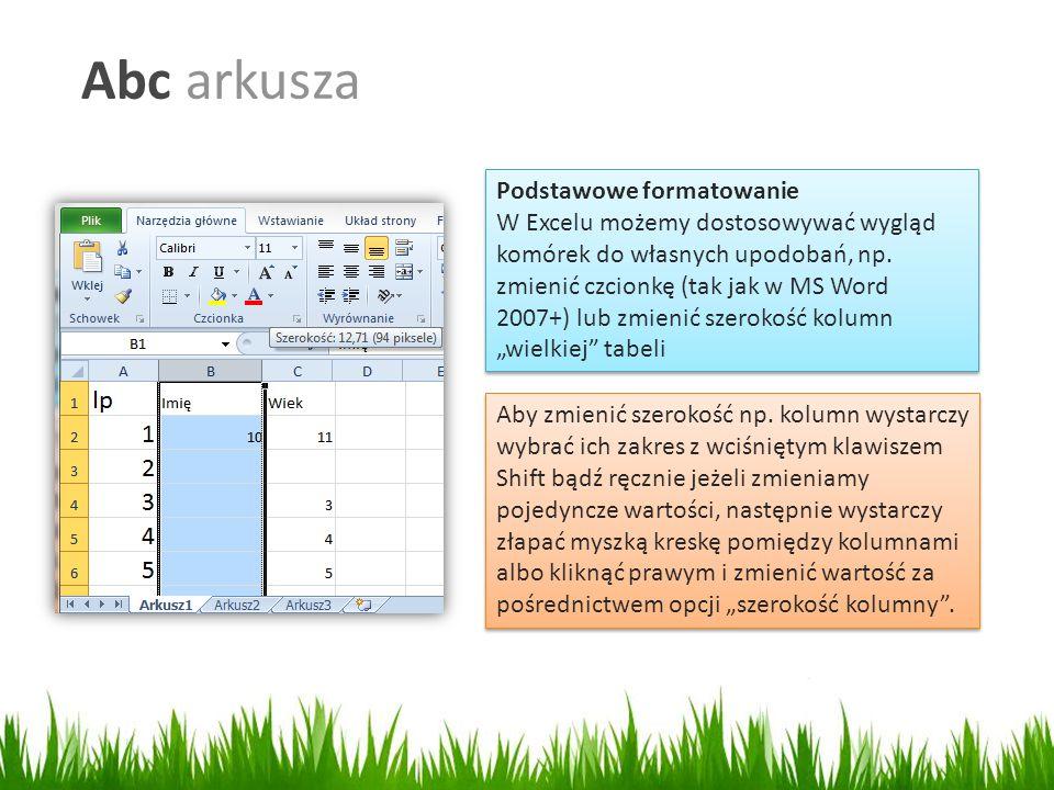 Abc arkusza Podstawowe formatowanie