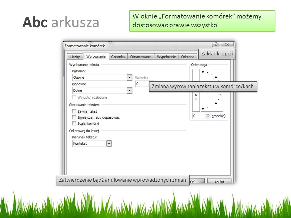 """Abc arkusza W oknie """"Formatowanie komórek możemy dostosować prawie wszystko. Zakładki opcji. Zmiana wyrównania tekstu w komórce/kach."""
