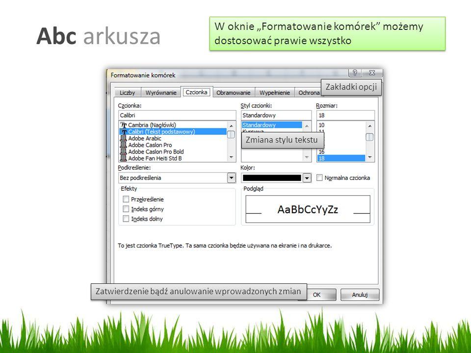 """Abc arkusza W oknie """"Formatowanie komórek możemy dostosować prawie wszystko. Zakładki opcji. Zmiana stylu tekstu."""