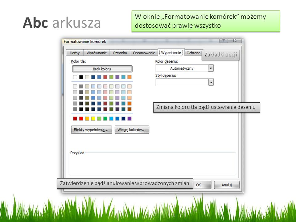 """Abc arkusza W oknie """"Formatowanie komórek możemy dostosować prawie wszystko. Zakładki opcji. Zmiana koloru tła bądź ustawianie deseniu."""