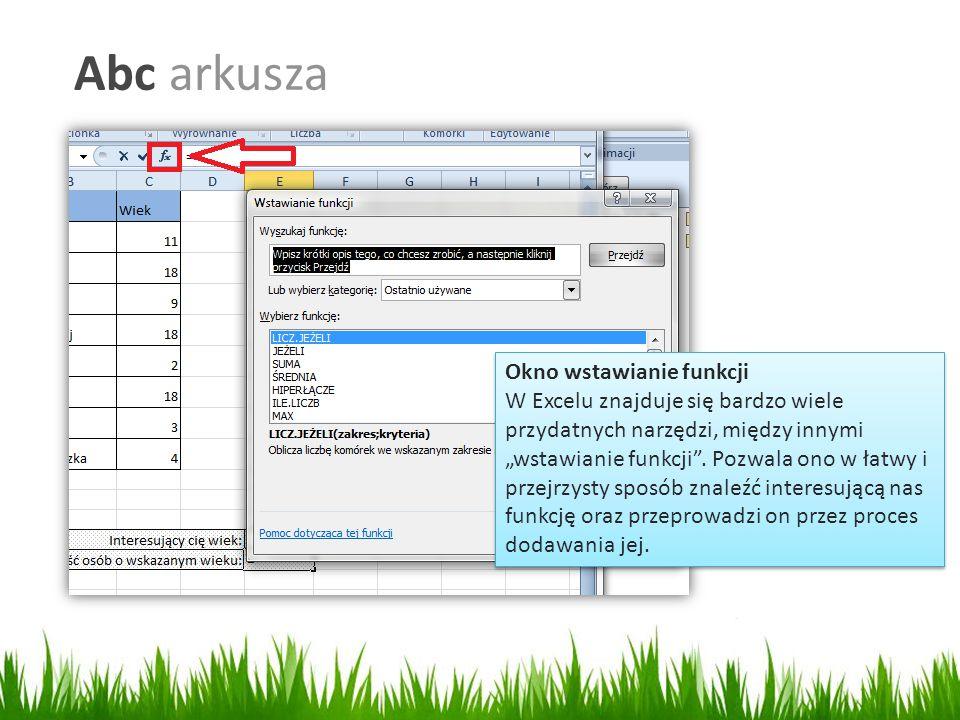 Abc arkusza Okno wstawianie funkcji