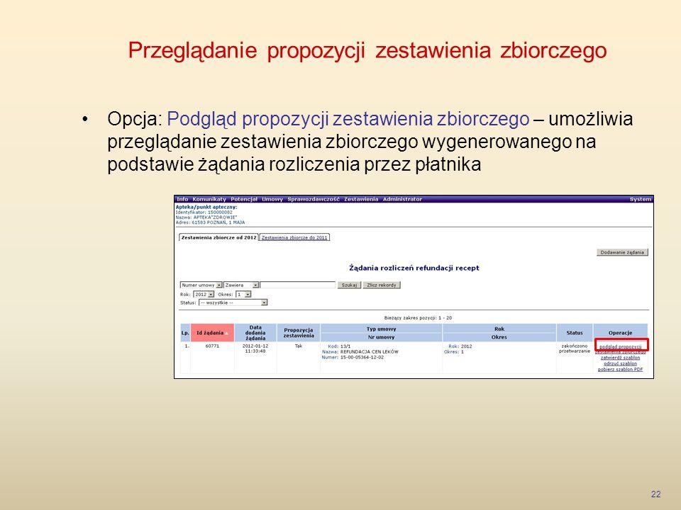 Przeglądanie propozycji zestawienia zbiorczego