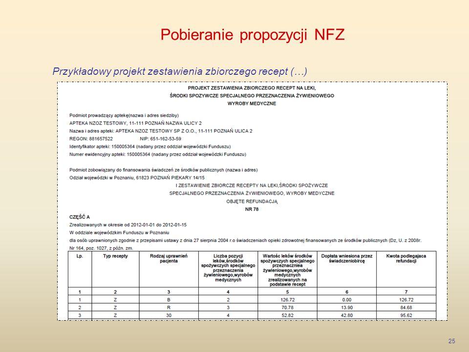 Pobieranie propozycji NFZ