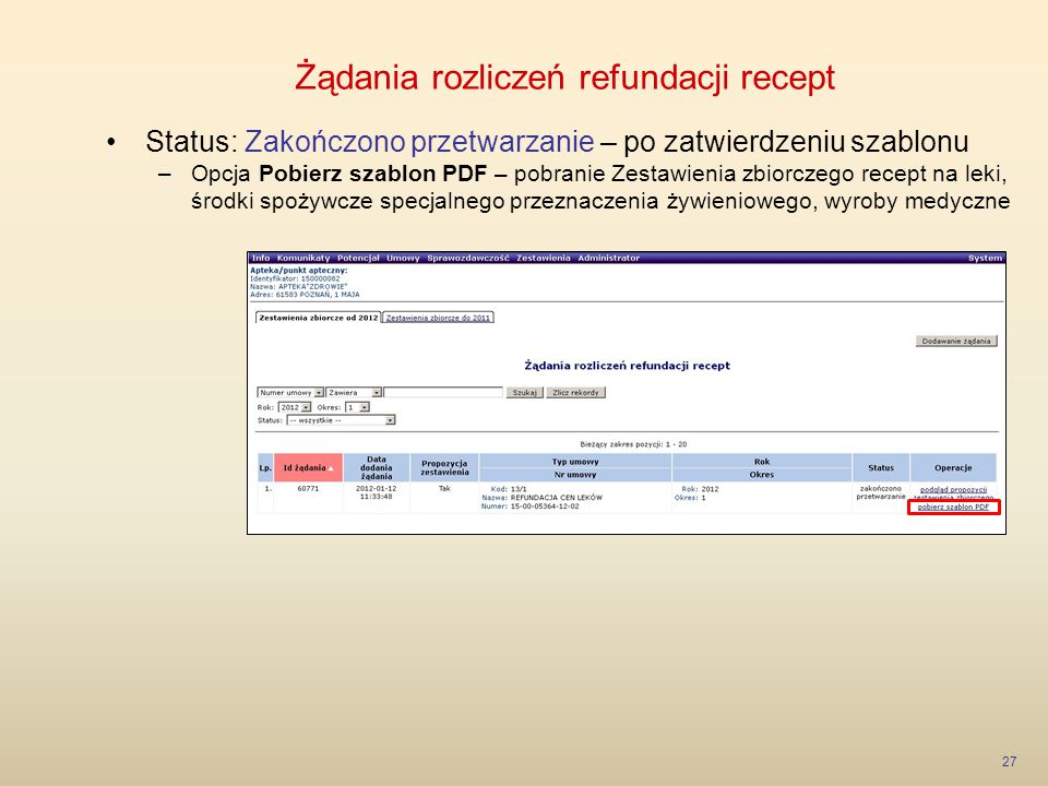 Żądania rozliczeń refundacji recept